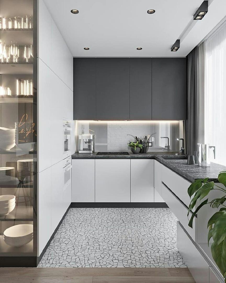 Лаконичный интерьер кухни - гостиной