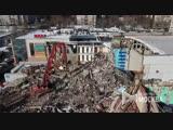Вид с квадрокоптера на работы по демонтажу здания кинотеатра Байконур на северо-востоке Москвы