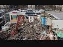 Вид с квадрокоптера на работы по демонтажу здания кинотеатра «Байконур» на северо-востоке Москвы