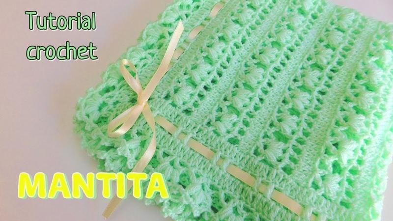 Como tejer un ajuar: Mantita o cobija para bebe a crochet -ganchillo