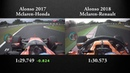 Alonso 2018 vs 2017 Suzuka Qualifying Lap Onboard