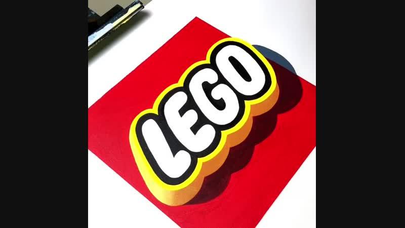 Удивительный 3D рисунок логотипа компании LEGO