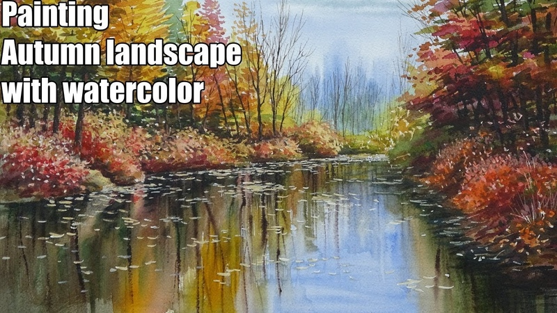 Painting tutorial : How to draw Autumn landscape with watercolor [speed painting]