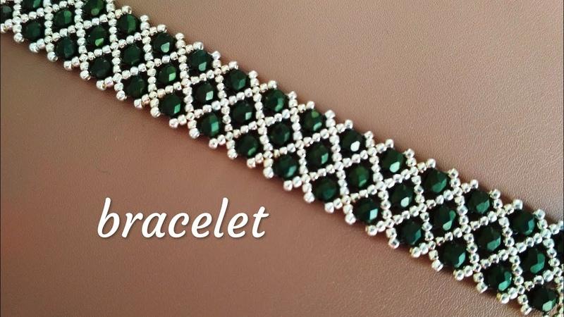 Beaded bracelet tutorial Браслет из бисера и бусин Мастер класс