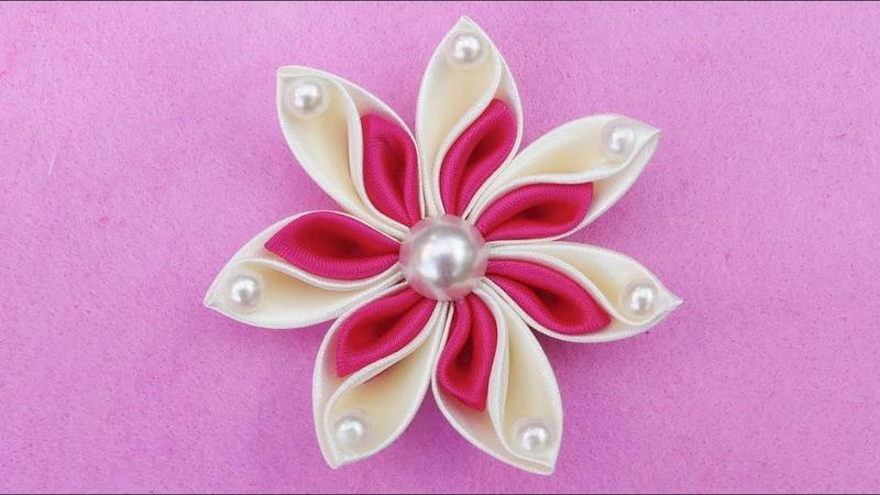 DIY Ribbon Flower I How To Make Kanzashi Ribbon Flower I Flower Hair Clip Tutorial