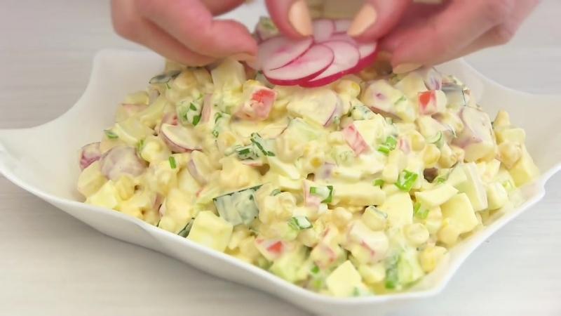 Крабовый Салат С НОВЫМ Вкусом!Весенний салат на ПАСХУ