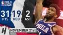 Joel Embiid Full Highlights 76ers vs Pelicans 2018.11.21 - 31 Pts, 2 Ast, 19 Rebounds!
