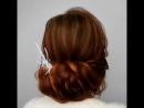 Прическа нижний пучок на среднюю длину волос. Экспресс, без завивки