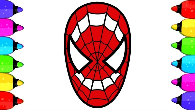 Spiderman Coloring pages How to Draw and coloring surprise Spiderman Head Step by step for kids