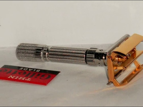 1961 Gillette FatBoy Razor Rhodium Gold Refurbished Replated G1–C1A