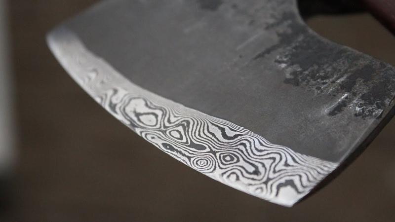 Viking bushcraft/carving hatchet with Damascus edge