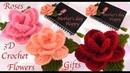 Como hacer flor rosa 3D a Crochet Como hacer regalos lindos fáciles y rápidos para el día la Madre