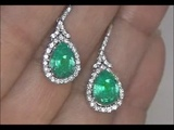 Kim Kardashian Lost Colombian Emerald &amp Diamond Earrings Set In Solid 14K White Gold Must Be Sold