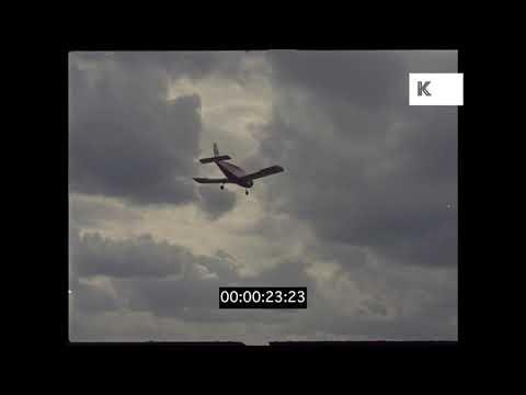 Cessna Landing in Airfield, 1960s UK, 35mm