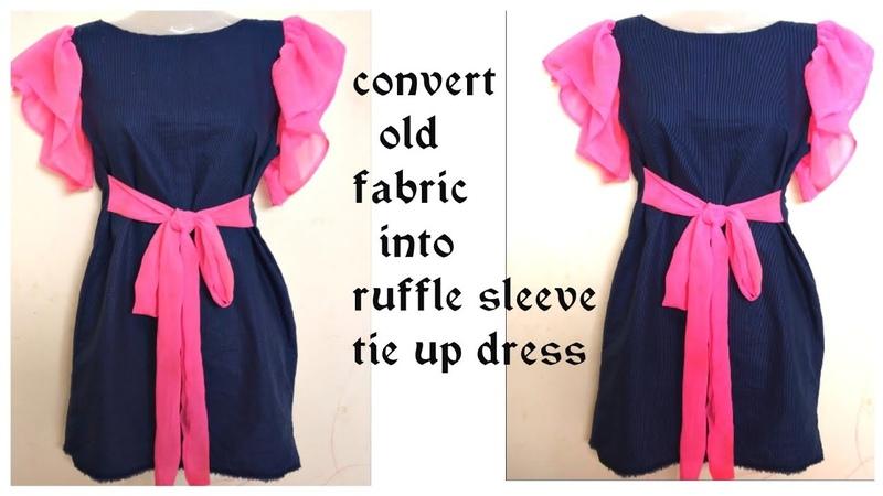 DIY ConvertReuse Old Fabric into Ruffle Sleeve Tie up Dress Hindi