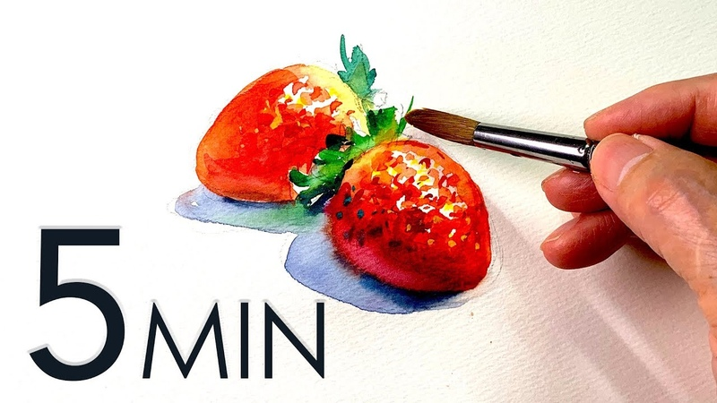 Eng sub 5min Easy Watercolor How to Paint a Strawberry