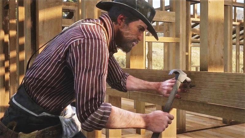 Red Dead Redemption 2 - Джон Марстон строит дом, Чарльз ему помогает, а Дядюшка подбадривает