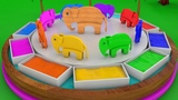 Learn Colors Kids With Wooden Animals Elephant Dump Toy In Color Water Basin Slide Educational Video