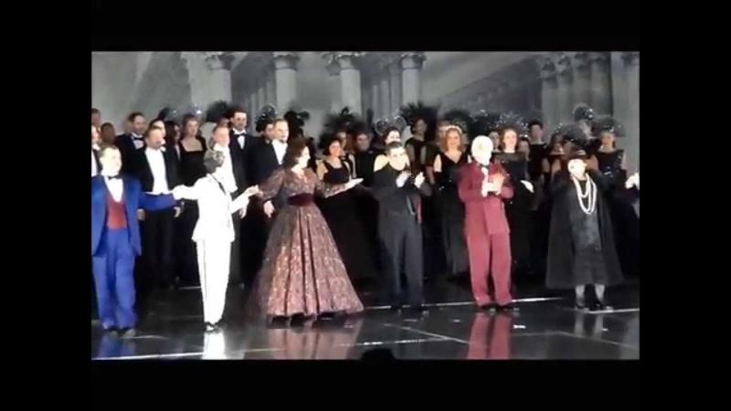 Curtain call in Un Ballo in Maschera.James Levine,Sondra Radvanovsky, Dmitri Hvorostovsky. 05.01.15