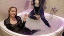 WETLOOK jeans hot girls fully clothed in shower