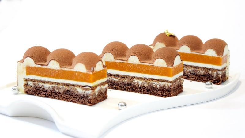Муссовый торт с велюром ОБЛЕПИХА-ШОКОЛАД * Mousse cake with velours * Пошаговое исполнение