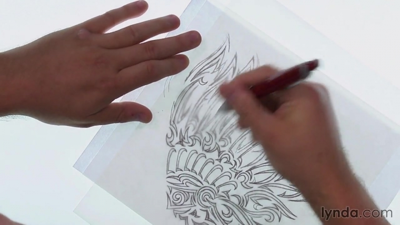 Lynda - Artist at Work - Native American Tribal Illustration 006 Determining the profiles of additional feathers