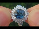 GIA Certified UNHEATED Natural VVS1 Blue Sapphire Diamond 18k White Gold Engagement Ring A121345