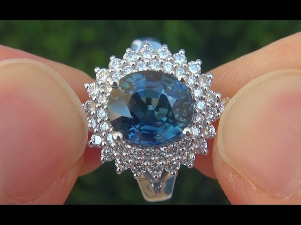 GIA Certified UNHEATED Natural VVS1 Blue Sapphire Diamond 18k White Gold Engagement Ring - A121345