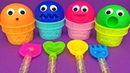 4 Colors Play Doh Ice Cream Cups PJ Masks Chupa Chups LOL HairGoals Shopkins Kinder Surprise Eggs