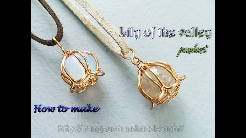 Lily of the valley pendant with large spherical stones without holes 398