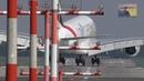 Hard A380 Crosswind Landing in Duesseldorf at RWY 05R - Emirates A6-EER