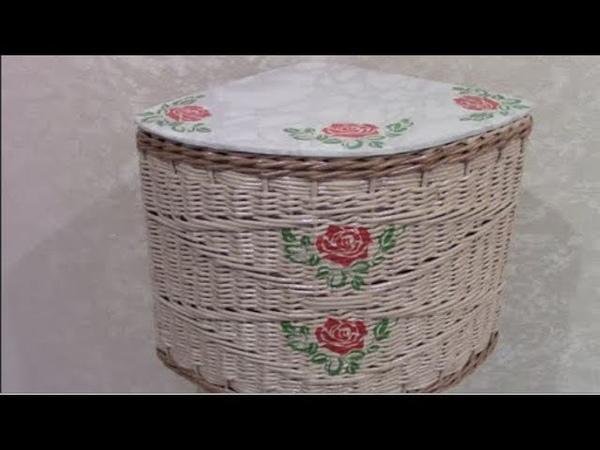 Узоры: ромб из объемной веревочки, веревочка из трех трубочек и другие узоры для угловой корзины.