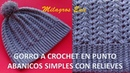 Gorro Unisex a crochet en puntos Abanicos simples y relieves paso a paso DIFERENTES EDADES