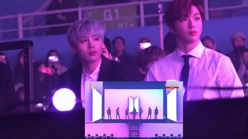 Wanna One full reaction to BTS Fake love VCR IDOL in AAA (Asian Artist Awards)