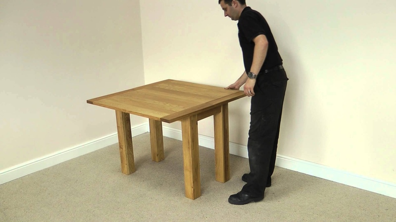Flip Top Square Oak Dining Table 100cm x 50cm - 100cm x 100cm