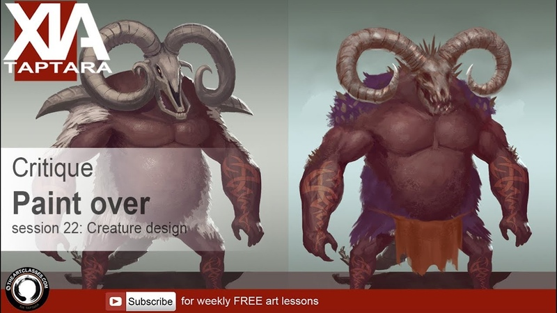 Creature design tutorial critique and paint over session 22