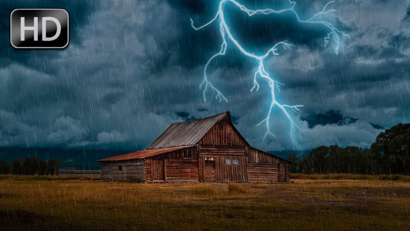 Sound of Rain with Thunder and Lightning. 1 Hour For Sleep, Relaxation, Stress Relief