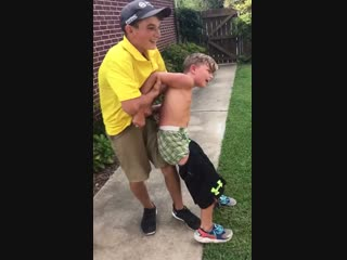 Midgets fight in backyard! pants come off