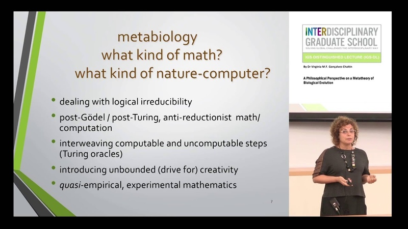 Lecture by Virginia Chaitin A Philosophical Perspective on a Metatheory of Biological Evolution