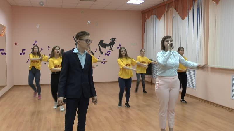 Афанасова Марина, Чёботов Даниил, волонтёры г.Полярного Большие танцы по-Александровски