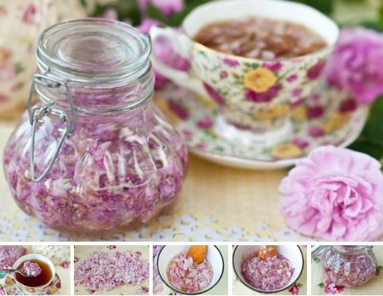 Розовые лепестки с медом для чая