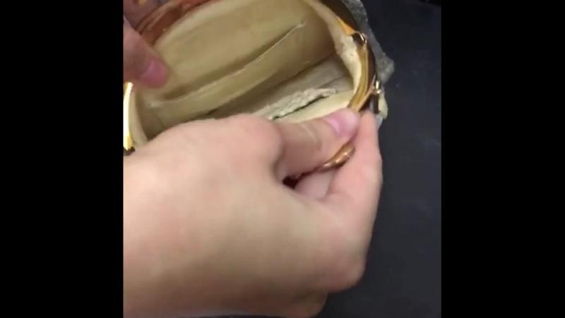 Винтажные тарная сумочка с вышивкой бисером
