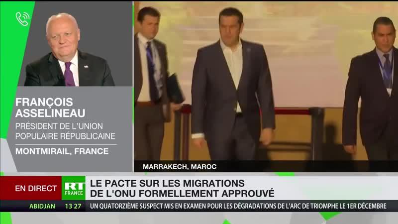 Asselineau compare le pacte de Marrakech à une «traite négrière du XXIe siècle» (RT,10/12/18,16h26)