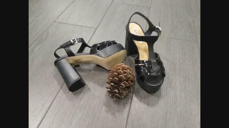 79-Босоножки Donna Piu, на каблуке и платформе, черные