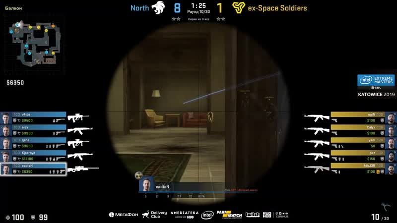 [CSRuHub] ex-Space Soldiers vs North - IEM Katowice EU Minor - map1 - de_mirage [TheCraggy Pchelkin]