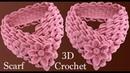 Bufanda a Crochet con trenzas de hojas y flor 3D en punto tunecino tejido tallermanualperu