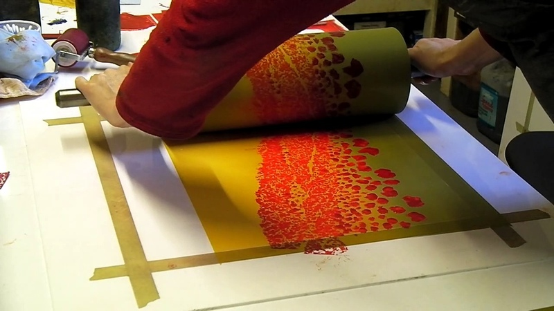 Rebecca Vincent printing monotypes Part 7 Printing Poppies