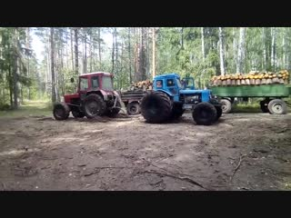 Кто сильнее. МТЗ или Т-40 с колесами от комбайна - Заметки строителя