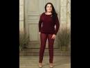 Блуза Ангорка с брошкой бордо