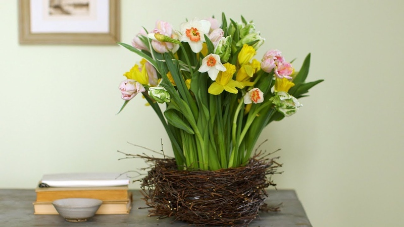 Birch-Wrapped Baskets with Tulips and Daffodils - Martha Stewart